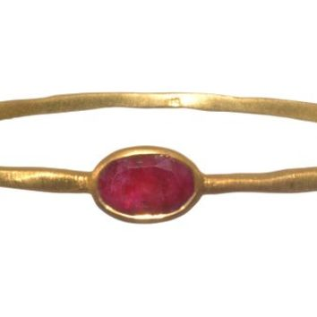 Gold Plated Bangle with Oval Shaped Red Ropada Stone