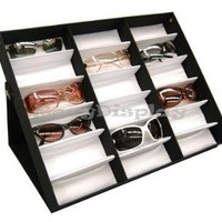 (SU-18A) Sunglasses Display Tray, Eyewear Eye wear Display up to 18 glasses, w/Full Flip Top Cover, Tray Case Stand