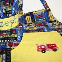 Boys Apron and Chef Hat with Personalized Embroidery for your Baker, Chef, Firefighter, Fireman, Firemen, Hero with Firetrucks 2T - 10