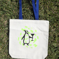 Penguin Martini Sturdy Tote Bag with Green Abstract Design