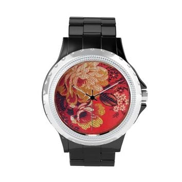 Red Floral print Ladies Rhinestone Watch