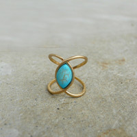 Turquoise Knuckle Ring [5926] - $9.00 : Vintage Inspired Clothing & Affordable Dresses, deloom | Modern. Vintage. Crafted.