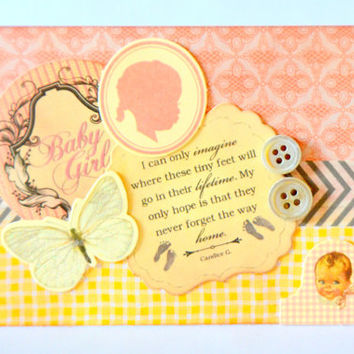 Baby Girl Vintage Inspired Handmade Greeting Card, One of a Kind Baby Card, Christening Baby Shower, Blank Infant Note Card, Welcome Baby