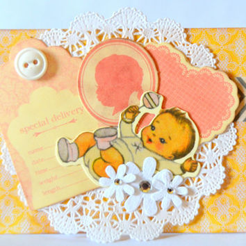 Baby Girl Vintage Inspired Handmade Greeting Card, One of a Kind Baby Card, Blank Infant Note Card, For Your Baby, Baby Shower Christening