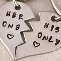 Her One His Only Keychains | Boyfriend Girlfriend Gift | Hand Stamped Couples Gift | Anniversary Gift | 2 Keychains | Couples Gift | Keyring
