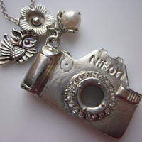 Camera Necklace with Owl and Flower