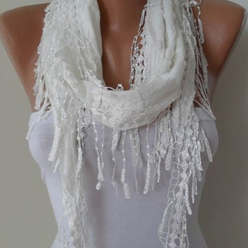 Creamy White Shawl and Scarf with White Trim Edge