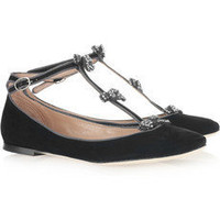 Chlo?|Embellished suede T-bar ballerina flats |NET-A-PORTER.COM