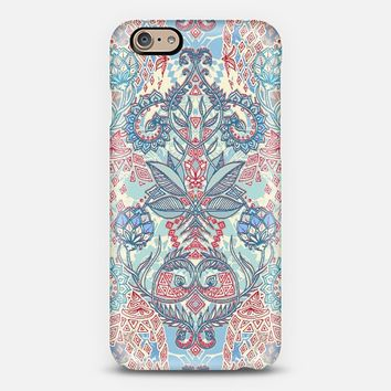 Botanical Geometry - nature pattern in red, blue & cream iPhone 6 case by Micklyn Le Feuvre   Casetify
