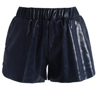 Glossy Faux Leather Shorts in Navy Blue S/M