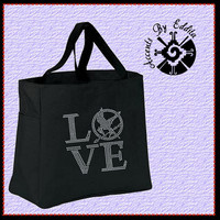 The ORIGINAL Hunger Games Inspired LOVE with Mockingjay Sturdy Rhinestone Tote Bag (your choice of color) Great Gift