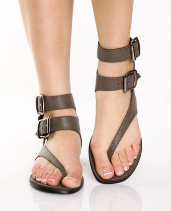 Go Max Grecian 01 Taupe Brown Double Strap Gladiator Thongs - $33.00