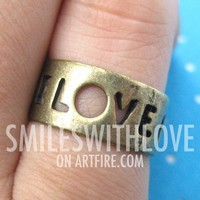 LOVE Cut Out Letter Ring in Bronze - Sizes 6 - 8