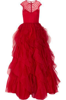 Valentino | Lace and ruffled silk-organza gown | NET-A-PORTER.COM