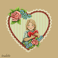 little girl with valentine heart and roses and for get me nots