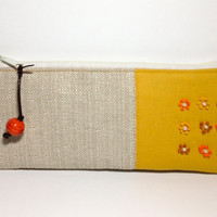 SALE   Zipper Pouch in Beige and Gold with Hand Embroidered Design  Was 32 Now 28USD