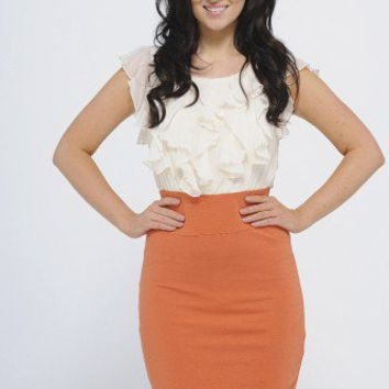 Bodycon Frill Front Two In One Dress