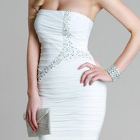 Kami Shade' Glitzy White with Sparkle Sequin Strapless Party