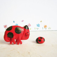 Ladybug Chameleon Figurine, Polymer Clay Animal Totem