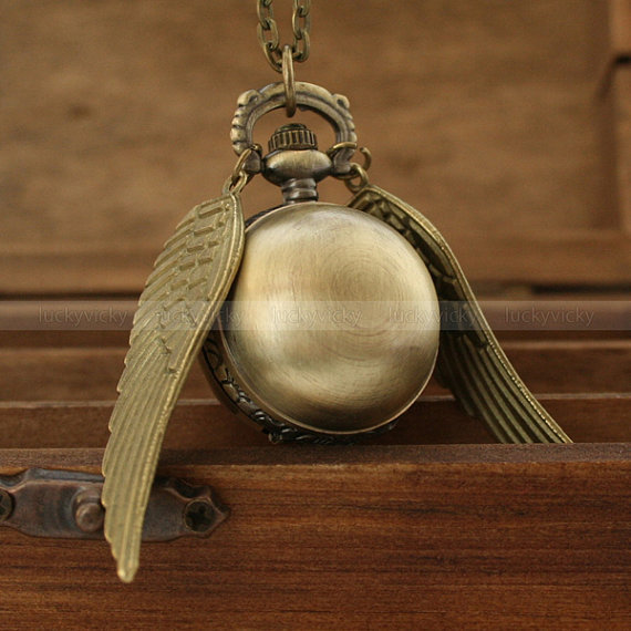 Harry potter golden snitch pocket watch necklace with wizard magic ball and wing charms