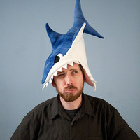 Plush Shark Hat - Blue Tie-Dye