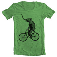 Unisex - Men's Women's T shirt - ELEPHANT RIDING a BIKE Fashion American Apparel Tshirt  - Grass -  (9 Colors) Sizes xs, s, m, l, xl (gct)