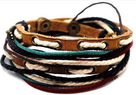 All product have a discount 10% OFF Adjustable Bracelet Cuff made of Brown Leather Multicolour Ropes and metal Woven Snapper  1s