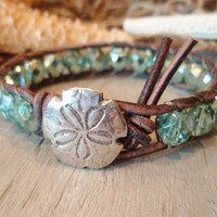 Beachy leather wrap bracelet, &quot;SandDollar&quot;, sky blue, sand dollar, ocean blue, distressed leather, beach surfer boho chic, on SALE