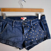 studded denim super short shorts