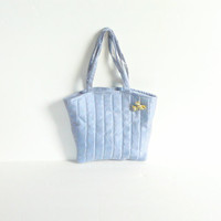 Blue Satin Handbag with Short Straps, Satin Lining and Silver Thread