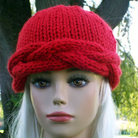 Hand Knit Hat Beanie Braided Cables Red