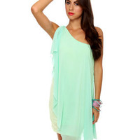 Pretty One Shoulder Dress - Light Blue Dress - Mint Dress - $36.00