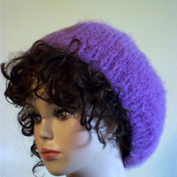 Hand Knit Slouch Hat Purple