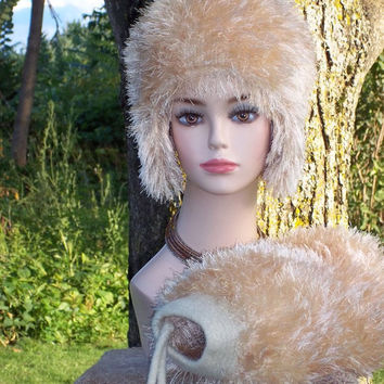 Hand Knit Earflap Hat And Matching Muff