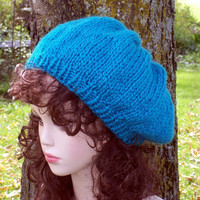 Knit Slouch Hat Blue