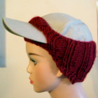 Baseball Cap Cover Knit Red Maroon