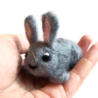 Needle Felted Rabbit - Miniature Bunny / Hare, Sculpture (Grey Blossom)