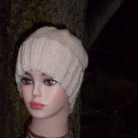 Hand Knit Hat Ski Hat White
