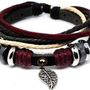 Jewelry bangle leather bracelet ropes bracelet men bracelet women bracelet made of leather ropes and Color Wooden beads 225S