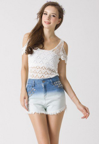 Crochet Cut Off Top - New Arrivals - Retro, Indie and Unique Fashion