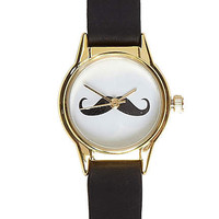 black moustache face watch