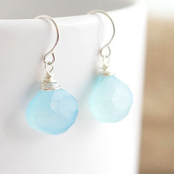 Blue Chalcedony Earrings - Wire Wrapped Earrings