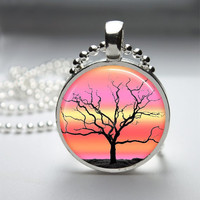 Round Glass Bezel Photo Art Pendant Tree Pendant Tree Necklace With Silver Ball Chain (A3666)