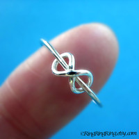 Adjustable Tiny infinity ring - 925 sterling silver ring jewelry, Promise ring, Friendship, Girlfriend, Sisters