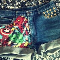 High Waist The AVENGERS Marvel Cuffed Studded Shorts