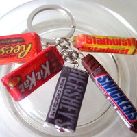 Assorted Chocolate candy Keychain (Kitkat, Hershey, Starburst, Resse's, Snickers)
