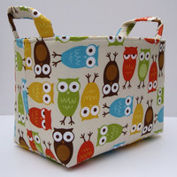 Fabric Organizer Bin Basket - Urban Zoologie -  Owls Bermuda