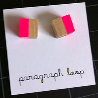 Symmetry cube wood post earrings - neon hot pink