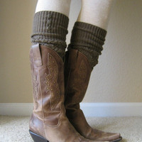 SALE SALE The LouLou -Coffee: Open-work Legwarmers w/ rubbed bronze metal buttons - Leg warmers (item no. 9-6)