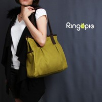 Ready To Ship-Green and Brown Piping Canvas Tote -044